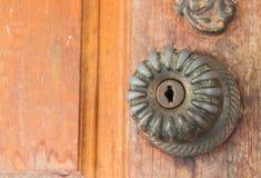 Blockierung auf die Holztür Stockfotos