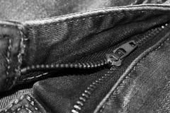Blockierung des Reißverschlusses auf Jeans-, moderner und stilvollersache Stockbilder