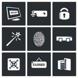 Blockierung die Ikonen eingestellt Auch im corel abgehobenen Betrag Stockfotografie