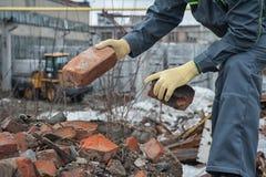 Blockierungen von defekten Ziegelsteinen Lizenzfreies Stockfoto