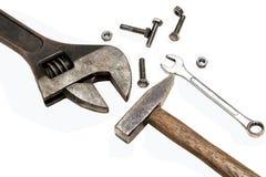 Blockierungszangen, Hammer-, Schlüsselwerkzeug, Schraube und Nüsse Lizenzfreies Stockfoto