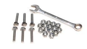 Blockierungszangen, Schlüsselwerkzeug, Schraube und Nüsse lokalisiert Stockfotos