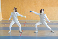Blocking defense fencer. Blocking defense of a fencer Stock Photography