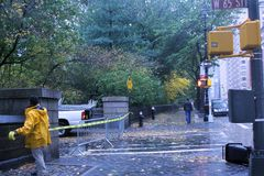 Blocking off Central Park during Hurricane Sandy Stock Photo