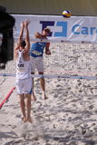 Blocking Premysl Kubala - beach volleyball Royalty Free Stock Photography