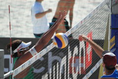 Blocking Ricardo - beach volleyball in Prague 2012 Stock Images