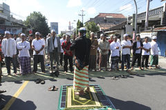 Blocking roads. Residents protested by blocking roads in the city of Solo, Central Java, Indonesia Stock Image
