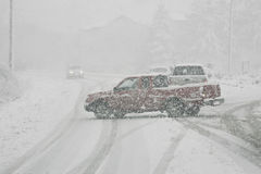 Blocking Traffic in Winter Storm Royalty Free Stock Images