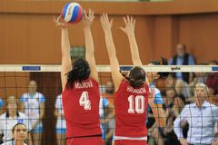 Blocking Zuzana Mudrova - volleyball Stock Photography