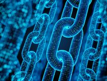 Blockkettenkonzept - digitale Codekette Lizenzfreies Stockfoto