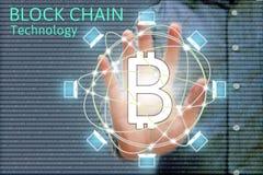 Blockkettennetz Konzept- und bitcoinikonen, Doppelbelichtung O Stockfotos