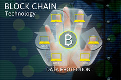 Blockkettennetz Konzept- und bitcoinikonen, Doppelbelichtung O Lizenzfreies Stockbild