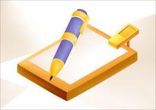 Blocknotes с карандашем иллюстрация штока