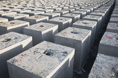 Blocks. Squares or blocks made of concrete for construction work Stock Photo