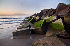 Blocks. The concrete blocks that lie at the jetty at Duindorp Stock Images