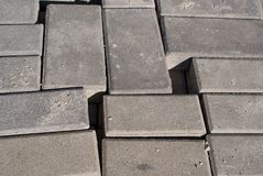 Blocks. Concrete blocks for pavement construction royalty free stock photos