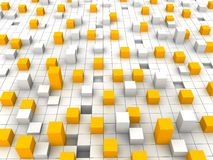 Blocks. Abstract orange and white blocks background. 3d rendered illustration Royalty Free Stock Photos