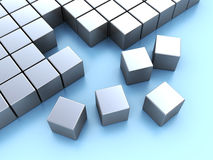 Blocks. Abstract 3d illustration of cube blocks construction over blue background Stock Images