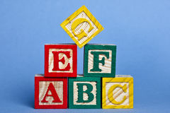 Blocks. Wooden block color  alphabet for education Royalty Free Stock Photography