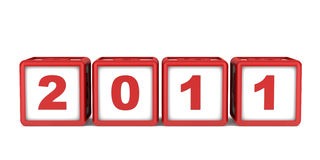 Blocks with 2011 new year date isolated. On white stock illustration