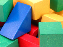 Blocks. Childrens wooden blocks different shapes and colors stock images