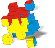Blocks. The big cube gathers from small cubes Stock Photography