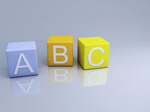 Blocks ABC letters on 3d illustration Stock Photo