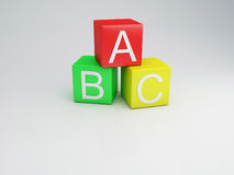 Blocks ABC letters, 3d render. Blocks ABC letters text, 3d Illustration Royalty Free Stock Photography