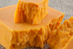 Blocks of aged cheddar cheese Stock Image