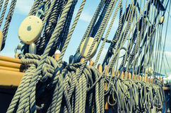 Blocks And Tackles Of A Sailing Vessel Royalty Free Stock Photos