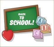 Blocks apple and blackboard of back to school design Royalty Free Stock Photo