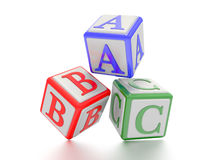Blocks with A,B and C written on it. Royalty Free Stock Photos