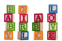 Blocks of baby girl abc love Royalty Free Stock Photography