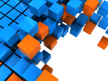 Blocks background. 3d illustration of boxes stucture background, orange and blue colors Stock Photo