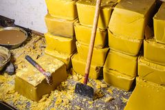 Blocks of Beeswax. For candle making royalty free stock photo