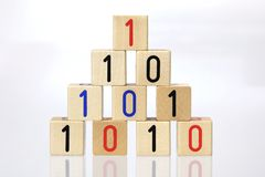 Blocks with binary code Royalty Free Stock Image