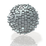 Blocks build a world densely into a spherical shape. Stock Photo