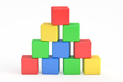 Blocks building, cubes. 3D rendering. On white background Stock Photos