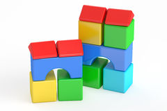 Blocks building, toy. 3D rendering. On white background royalty free illustration