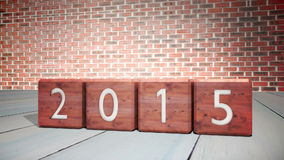 2014 blocks changing to 2015 stock video footage