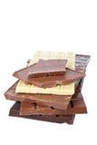 Blocks of chocolate Stock Photos