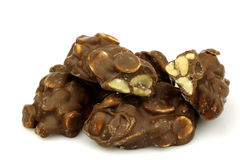 Blocks of chocolate covered peanuts Royalty Free Stock Photography