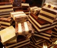 Blocks of Cremino, typical Italian chocolate with Gianduja stock image