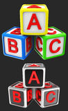 Blocks cube ABC. 3d images icon, trademark, triangle royalty free illustration