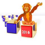 Blocks with different years. Blocks with monkey and new year 2016 vector illustration