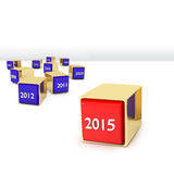 Blocks with different years. And new 2015 Royalty Free Stock Image