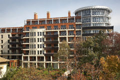 Blocks of flats. Blocks with new apartments for sale royalty free stock photography
