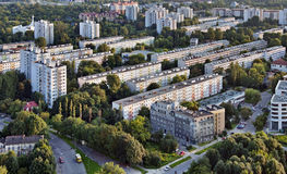 Blocks of flats. A residential district with communist blocks of flats built in the seventies in Cracow, Poland. Aerial view at sunset Royalty Free Stock Images