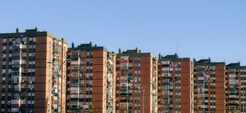 Blocks of flats. Panoramic view Royalty Free Stock Image