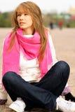 blocks girl sits stone Στοκ Εικόνες
